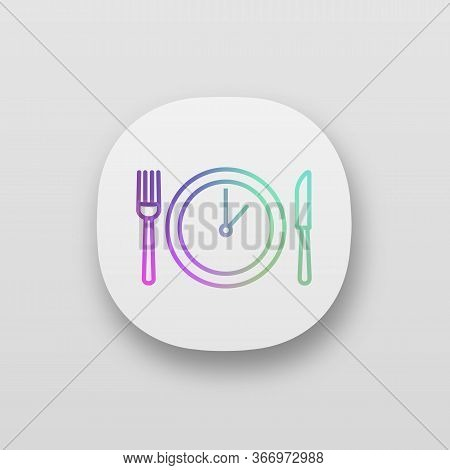 Lunch Time App Icon. Dinner Break. Afternoon Business Meeting. Business Lunch Timing And Duration. T