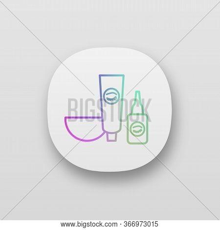 Eyebrows And Eyelash Dye Kit App Icon. Bowl, Tint And Oxidant Activator. Brows Tinting. Eyebrows Mak