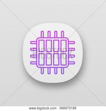 Octa Core Processor App Icon. Eight Core Microprocessor. Microchip, Chipset. Cpu. Central Processing