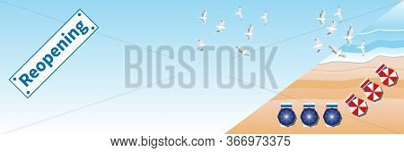 Beach Reopening Banner. Summer Beach, Sea And Beach Items. Seagulls Fly In Blue Sky Over Sea Waves.