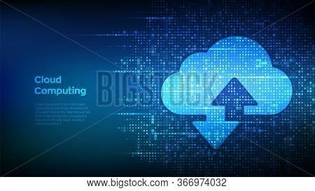 Cloud Technology Background. Cloud Computing. Cloud Storage Sign With Two Arrows Up And Down Icon Ma