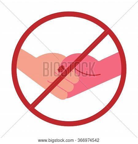 Forbidding Banner For Hands Shaking During Epidemic Vector Illustration