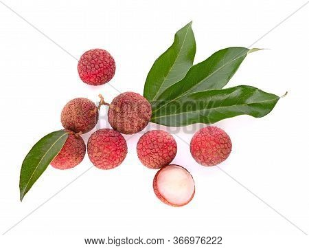 Top View Of Litchis  And Geen Leaf Isolated On White Backgorund