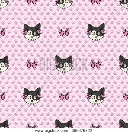 Cute Cartoon Japanese Bobtail Kitten Face With Pink Bow Seamless Vector Pattern. Pedigree Kitty Bree