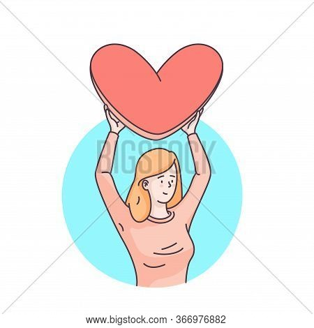 Woman Character Holding Big Loving Heart Over Her Head. Sending Love Message To Beloved One. Flat St
