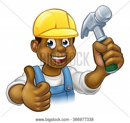 A Black Handyman Carpenter Cartoon Character In A Hard Hat Holding A Hammer And Giving A Thumbs Up