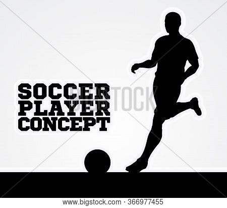 A Stylised Illustration Of A Soccer Football Player In Silhouette Running With The Ball