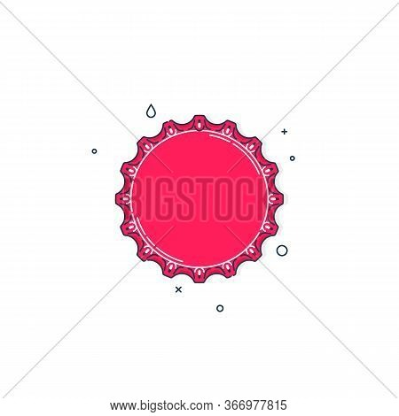 Color Flat Illustration With A Bottle Cap On A White Background. Red Cover Metal Cork. Isolated Elem