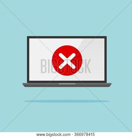 Check Mark On Laptop Screen Isolated. Incorrect Or Wrong Checkmark Concept. Online Test Results. Vec