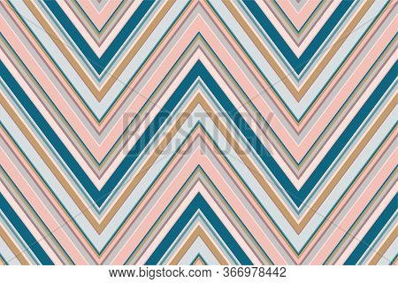 Chevron Pattern. Zigzag Stripes Seamless Texture. Vector Colorful Ornament With Diagonal Lines, Stri