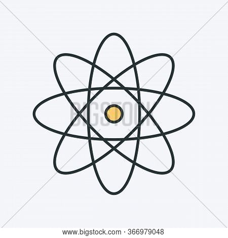 Atom Icon. Vector Illustration Of An Atom Or Molecule. It Represents Concept Of Physics, Molecule St