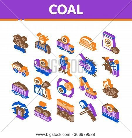 Coal Mining Equipment Collection Icons Set Vector. Coal Truck Delivery And Conveyer, Helmet And Jack