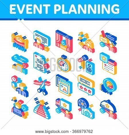 Event Party Planning Collection Icons Set Vector. Planning Travel And Delivery, Concert And Theater,