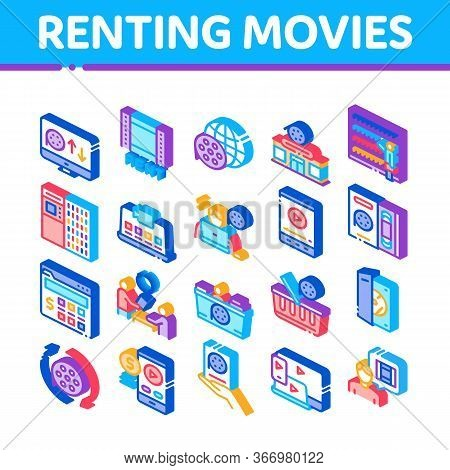 Renting Movies Service Collection Icons Set Vector. Renting Movies Store, Internet Online Watching A