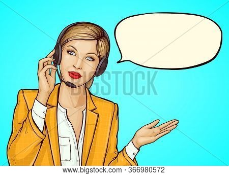 Pop Art Female Operator Consulting Client On Hotline. Beautiful Young Woman With Headset With Microp