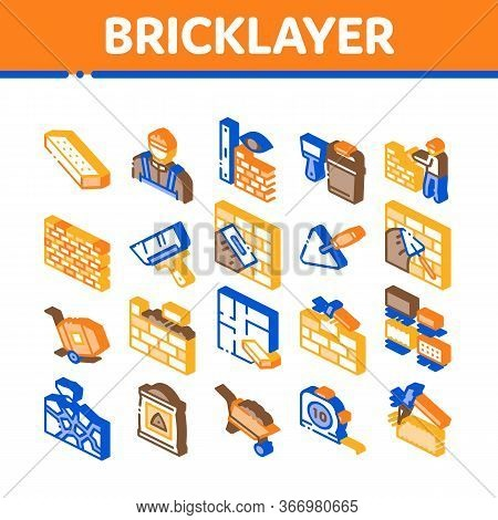 Bricklayer Industry Collection Icons Set Vector. Professional Bricklayer Worker, Mason Layer Equipme