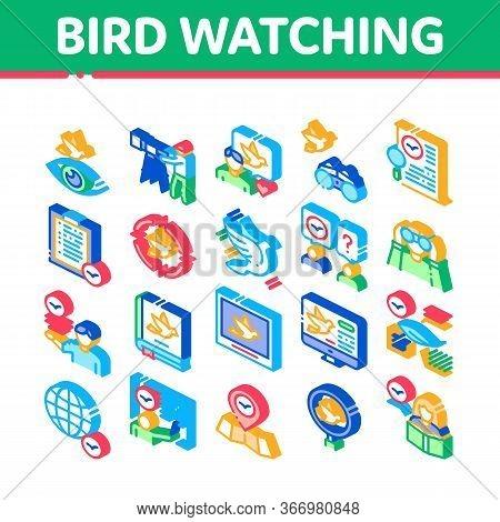 Bird Watching Tourism Collection Icons Set Vector. Bird Watching Photo Camera And Binocular Equipmen