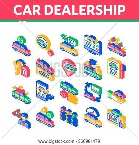 Car Dealership Shop Collection Icons Set Vector. Car Dealership Agreement And Document, Auto Salon A