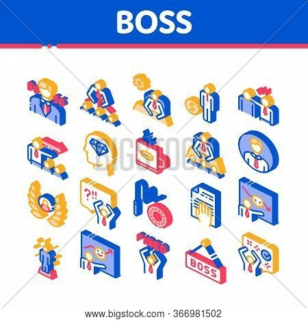 Boss Leader Company Collection Icons Set Vector Thin Line. Boss On Tablet And Cup With Crown, Meetin