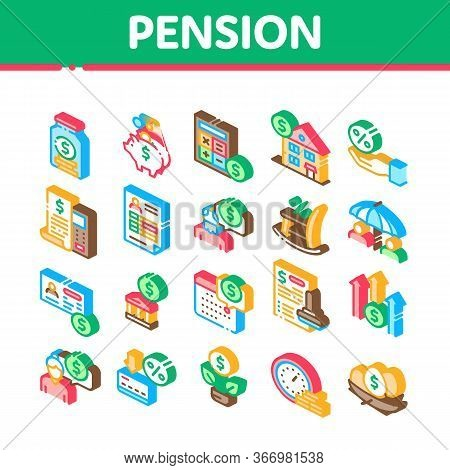 Pension Retirement Collection Icons Set Vector. Money In Glass Bottle And Box, Calculator And Clock,