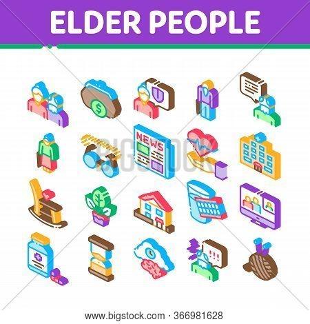 Elder People Pensioner Collection Icons Set Vector. Medicine Pills For Elder People, Glasses, Hospit