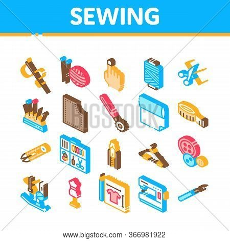 Sewing And Needlework Collection Icons Set Vector. Sewing Needle And Measure, Dummy And Bobbin, Butt
