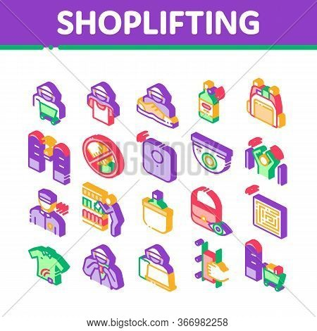 Shoplifting Collection Elements Icons Set Vector Video Camera And Guard Security From Shoplifting, H