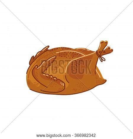 Fried Chicken. Cooked Whole Chicken On White Background. Simple Flat Style Vector Illustration.