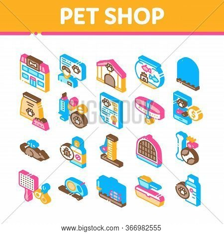 Pet Shop Collection Elements Icons Set Vector. Shop Building And Aquarium, Bowl And Collar, Gaming A