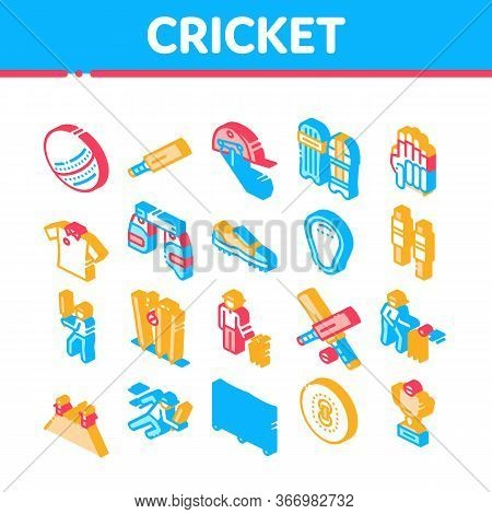Cricket Game Collection Elements Icons Set Vector. Cricket Ball And Bat, T-shirt And Spike Sneakers,
