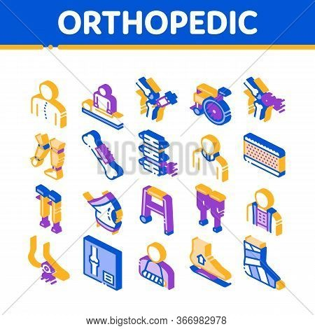 Orthopedic Collection Elements Vector Icons Set. Orthopedic And Trauma Rehabilitation, Cervical Coll