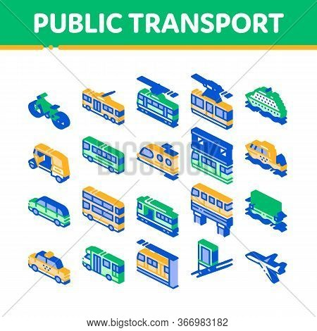 Public Transport Vector Line Icons Set. Trolleybus And Bus, Tramway And Train, Cable Way And Monorai