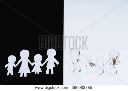 Paper Cut Of Family Members Destroyed By Cigarette On Black And White Background. Smoking Destroying