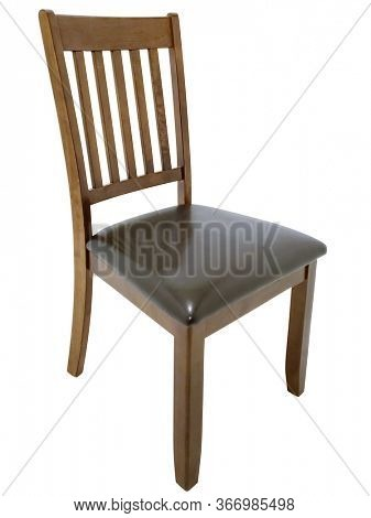 Brown Dinning Room Chair over white with clipping path.