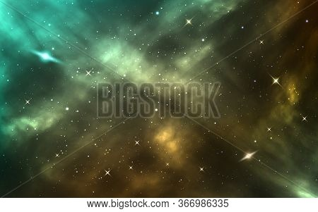 Space Background. Realistic Cosmic Texture. Starry Nebula And Shining Stars. Color Galaxy With Stard