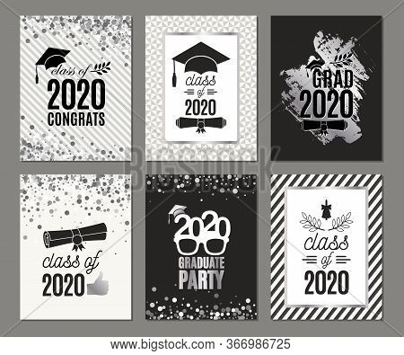 Graduation Class Of 2020 Six Greeting Cards Set In Silver Colors. Vector Party Invitations. Grad Ban