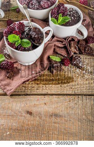 Homemade Chocolate Mug Cake With Blackberry. Breakfast Easy Snack Recipe, Chocolate Non Dairy Cake I