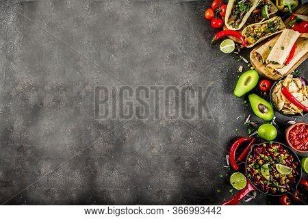 Cinco De Mayo Food.mexican Food Concept Background With Taco, Quesadilla, Burrito, Chili, Salsa Sauc