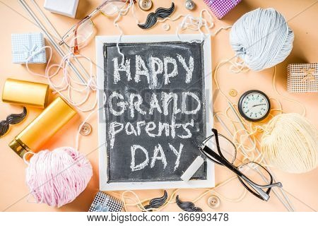 Happy Grandparents Day Background. Grandparents Holiday Gift Card, Granny And Grandpa's Day Celebrat