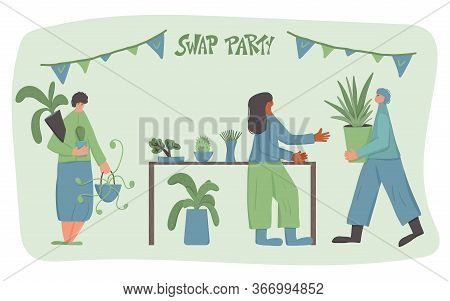 Swap Party Emblem. Three People Surrounded By Potted House Plants And Stylized Letterong. Hand Drawn