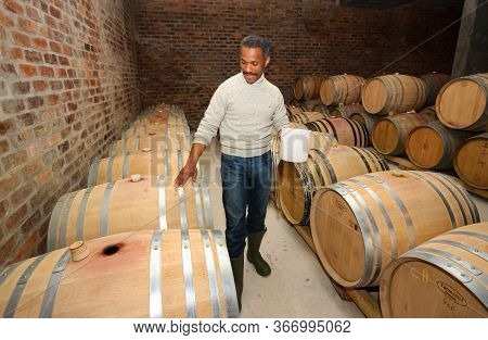 African Winemaker Vigneron Checking On A Batch Of Red Wine In Aging Oak Barrels