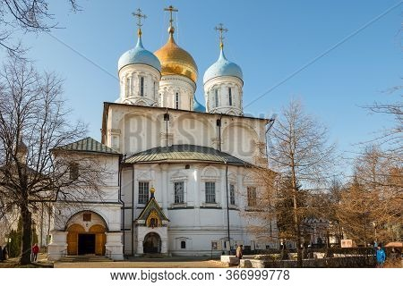 Moscow, Russia - February 22, 2020: Transfiguration Cathedral In Novospassky Monastery On A Spring A