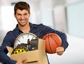 Man Holding Box And Basketball, Indoor poster