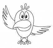 Cheerful cartoon bird with two wings, pointing on top and on right, contour. Vector poster