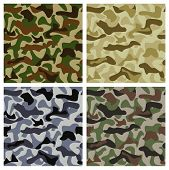 Camouflage background of different colors with classic pattern poster