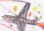 military aircraft. child's drawing on paper. isolated poster