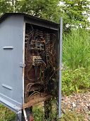 An old electric box with haphazard wiring poster