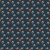 Seamless pattern of daisies and orange circles on dark background poster