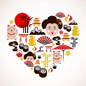 Heart shape with Japan icons poster