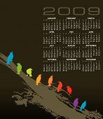 2009 vector calendar with birds and space for logo and text poster